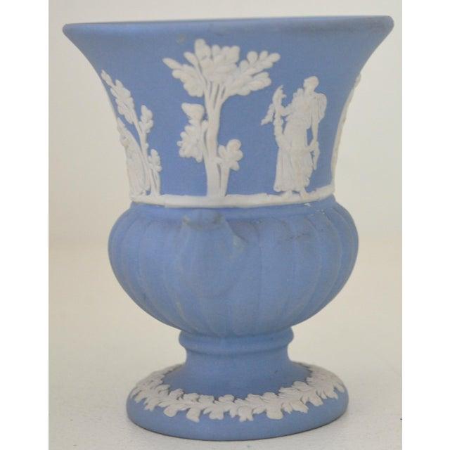Wedgwood Antique Wedgwood Jasperware Blue & White Urn Vase England Miniature For Sale - Image 4 of 11