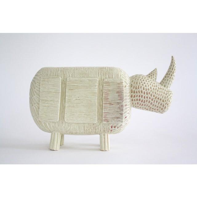Modern Primitive Porcelain Rhino For Sale - Image 4 of 8