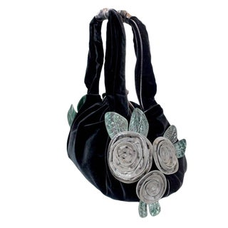 Marc Jacobs Fall 2005 Velvet Handbag with Leather and Ostrich Flower Detail Tags For Sale