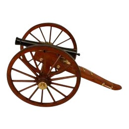 American 19th Cent style (modern) wood and metal signal cannon on carriage with large spoked wheels For Sale
