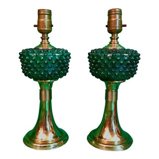 Green Art Deco Hobnail Glass Mantel Lamps - A Pair