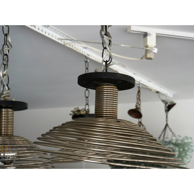 Spiral Spring Chrome Industrial Style Chandelier by Angelo Mangiarotti For Sale - Image 9 of 13