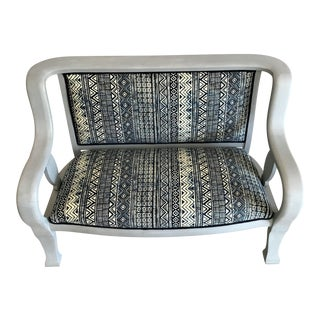 Gustavian Settee Bench - Custom Upholstered, African Mud Cloth