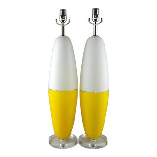 Vintage Murano Glass Capsule Table Lamps in Yellow White For Sale