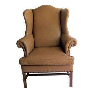 Edward Wormley Style Leather Queen Anne Wingback Chair For Sale