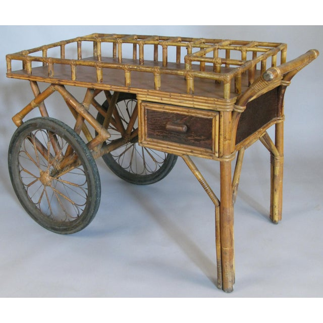 Art Deco Antique 1920s Rattan and Wicker Bar Cart For Sale - Image 3 of 9