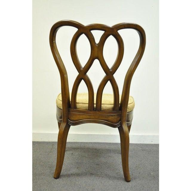 Vintage Hollywood Regency Solid Wood Loop Back Side Occasional Desk Dining Chair For Sale - Image 5 of 11
