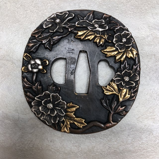 Set of 6 metal double-sided 1950's Japanese Tsuba's, sword hilt covers. Would be great framed!