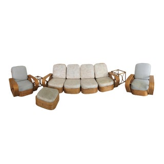 Vintage Paul Frankl 6 Strand Rattan Sectional Couch and Arm Chairs- 4 Pieces For Sale