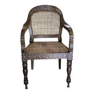 Wood and Bone Inlay Armchair For Sale
