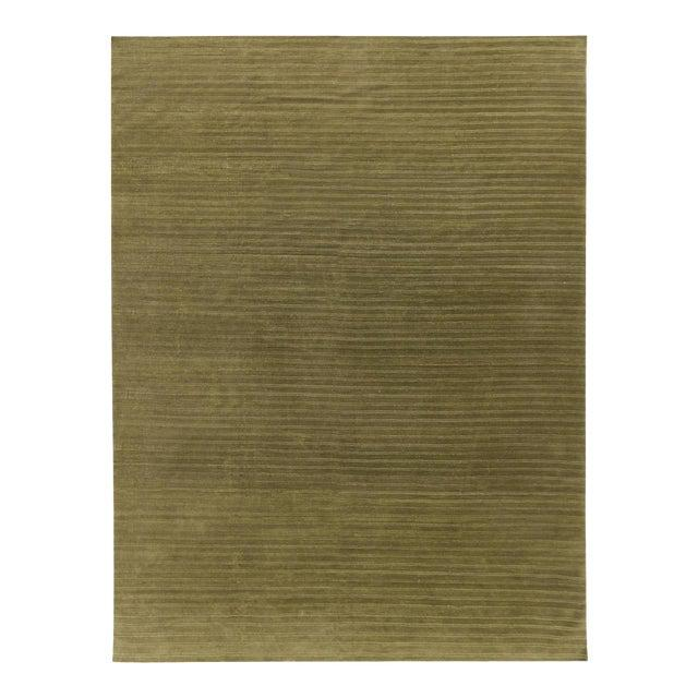 Contemporary Wool Hand Knotted Olive Green Rug - 10' X 13' For Sale In New York - Image 6 of 6
