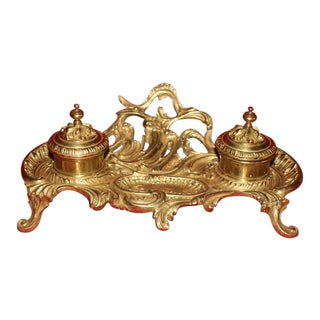19th Century French Gilt Bronze Inkwell For Sale
