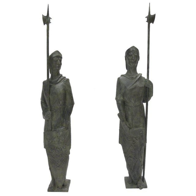 French Life-Size Bronze Statues Sculpture Middle Ages Knight in Armor, a Pair - Image 11 of 11