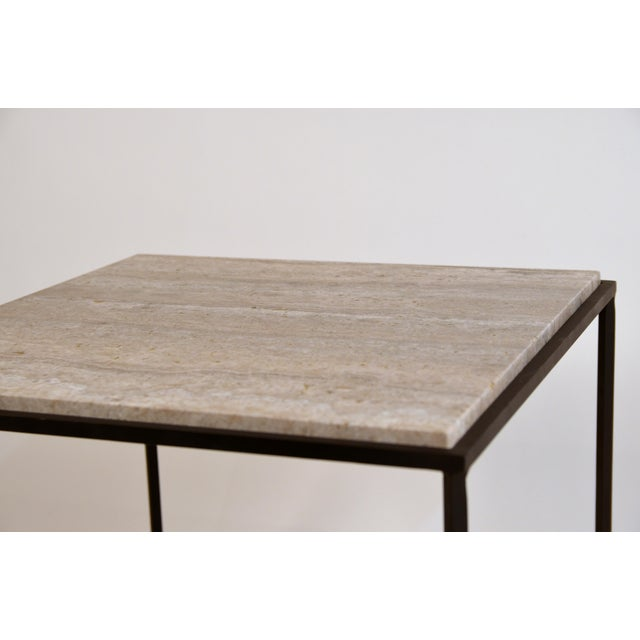 1920s Large 'Entretoise' Silver Travertine Side Tables by Design Frères - a Pair For Sale - Image 5 of 9