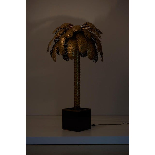 Gold Pair of Very Impressive Brass Palm Floor Lamps by Maison Jansen For Sale - Image 8 of 9