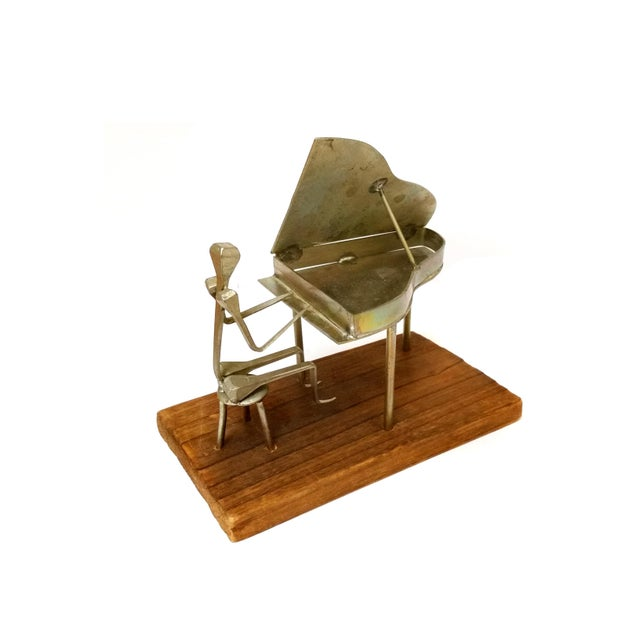 Modern Metal Pianist Playing Piano Design With Horseshoe Nail Welding Sculpture For Sale - Image 6 of 6
