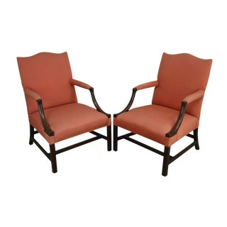 Saybolt & Cleland Vintage Pair Solid Mahogany Chippendale Style Library Arm Chairs For Sale