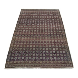 "Turkish Oushak Distressed Hand Knotted Faded Rug - 4'8"" x 7' For Sale"