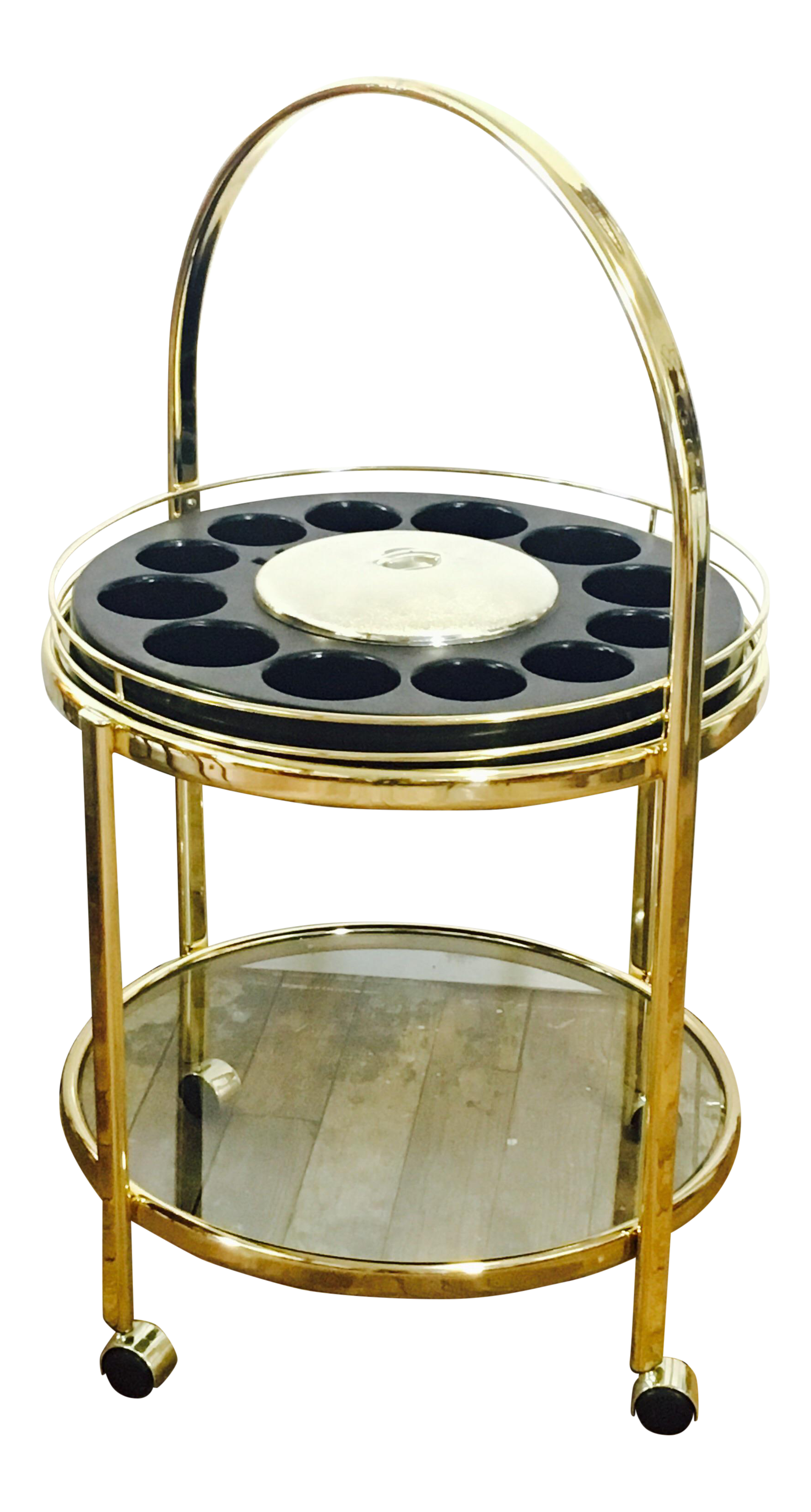 Vintage Round Brass Bar Cart Chairish