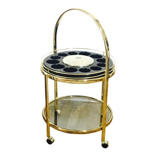 Vintage Round Brass Bar Cart For Sale