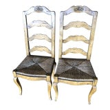 Image of 1990s Vintage Ladder Back Dining Chairs - a Pair For Sale