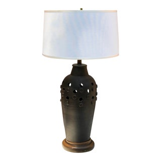 C. 1950 Italian Slate Gray Aldo Londi for Raymor Ceramic Lamp For Sale