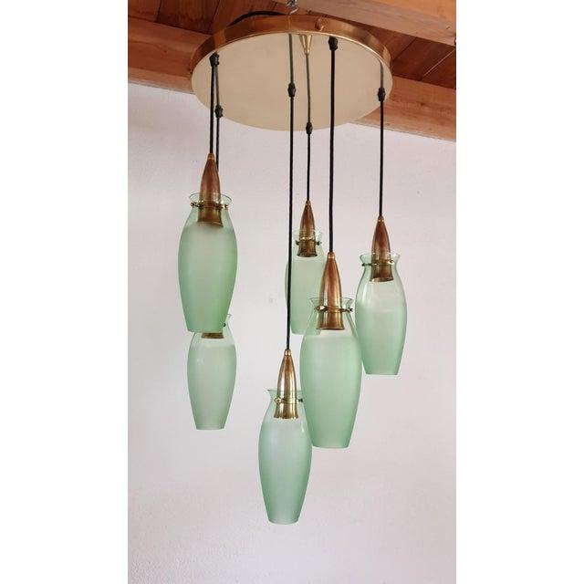 Italian Italian Mid-Century Modern Brass & Glass Flush Mount, Arredoluce For Sale - Image 3 of 13