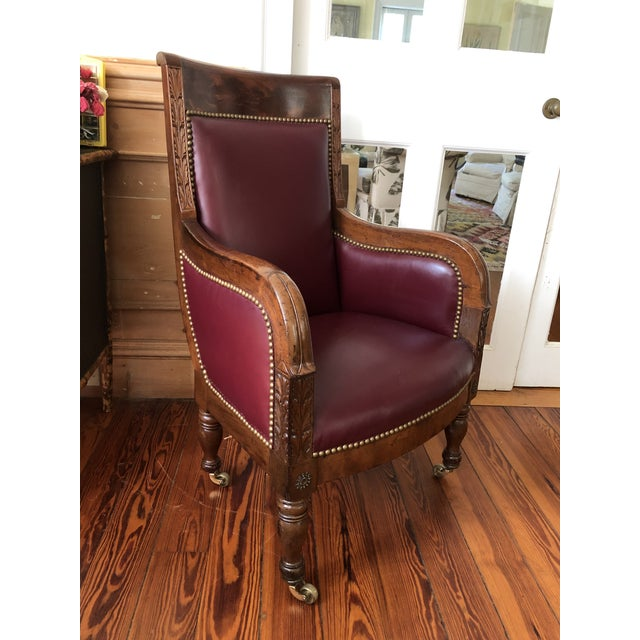 19th Century Empire Mahogany Library Chair on Brass Casters For Sale - Image 11 of 11