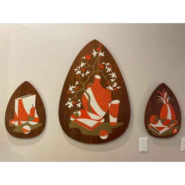 1960s Illinois Moulding Co. Acrylic Popcorn Wall Bel Art-Style- Set of 3 For Sale In New Orleans - Image 6 of 6