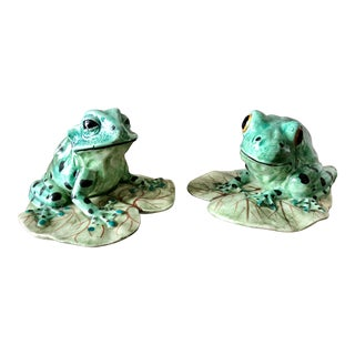 Vintage Meiselman Imports Italian Ceramic Frogs- a Pair For Sale