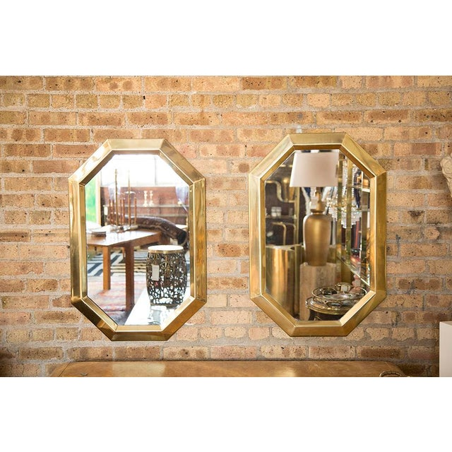 Brass Octagonal Mirrors - A Pair - Image 3 of 11