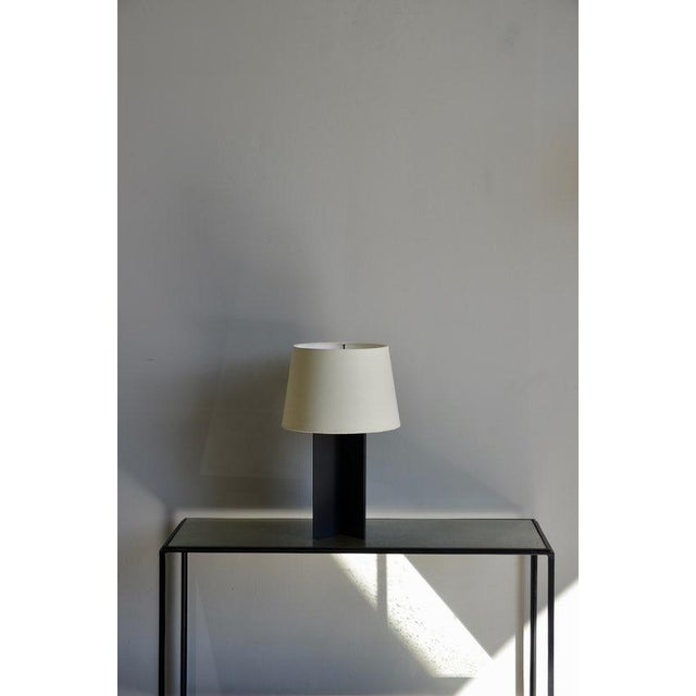 "2010s Contemporary ""Croisillon"" Matte Black Steel and Parchment Lamp For Sale - Image 5 of 8"