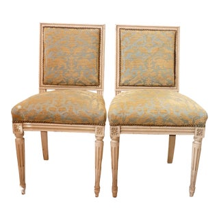 Vintage Mid Century Gustavian Style Side Chairs- a Pair For Sale