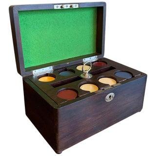 Art Deco Mahogany Boxed Poker Chip Set For Sale