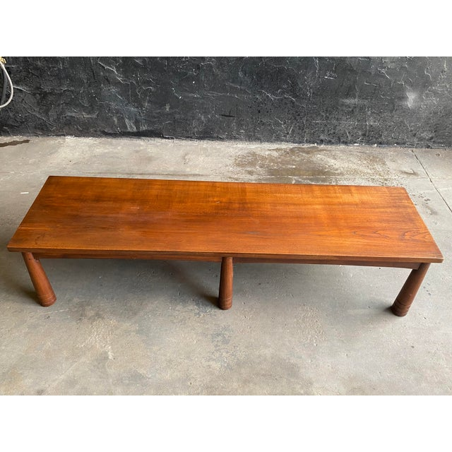 Mid Century Solid Teak Bench For Sale - Image 4 of 11