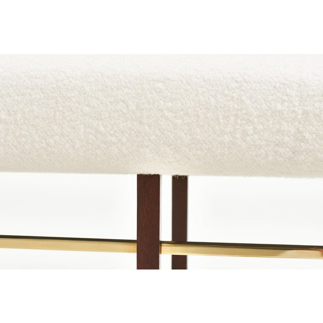 Harvey Probber Brass Frame Bench in White Boucle, 1950 For Sale In Chicago - Image 6 of 7