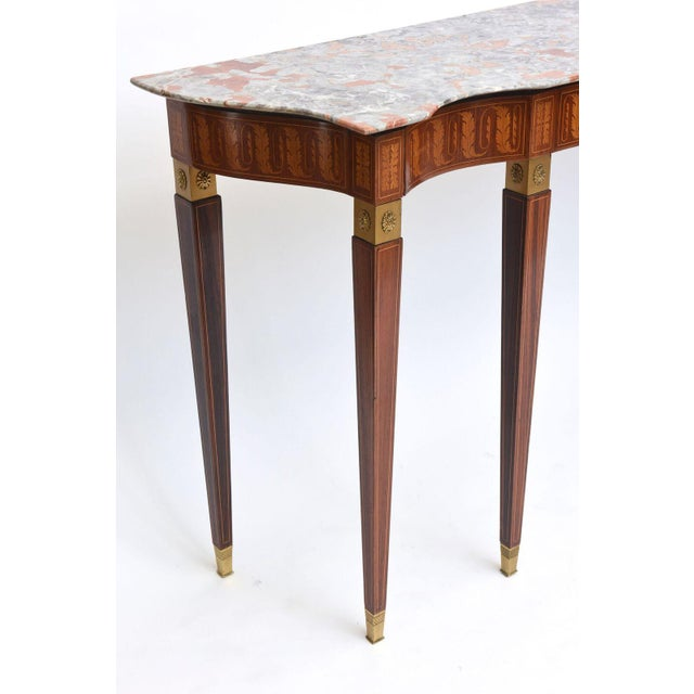 Paolo Buffa Italian Modern Inlaid Walnut, Bronze-Mounted and Marble Console by Paolo Buffa For Sale - Image 4 of 10