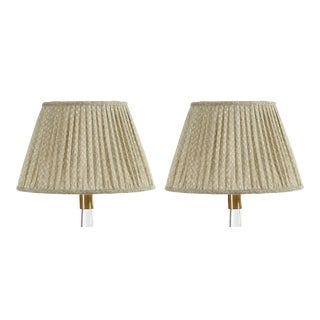 Fermoie Gathered Linen Lampshade in Green Figured, 6 Inch, Set of 2 For Sale
