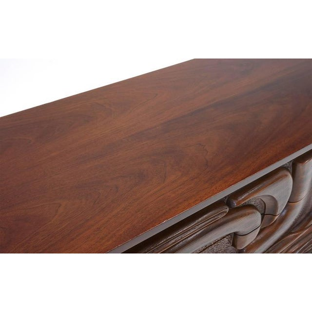 Witco Witco Carved Front Walnut Cabinet / Credenza in the Style of Philip Lloyd Powell For Sale - Image 4 of 10