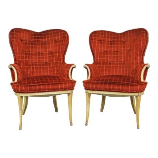 Pair of Vintage French Tufted Heart Back Arm Chairs For Sale