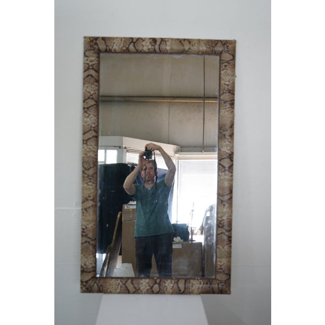 """This is a unique French vintage mirror with """"snake skin"""" covering."""