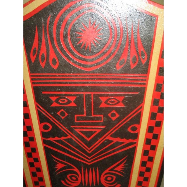 Wood Mexican Lacquerware Magazine Stand With Aztec Designs For Sale - Image 7 of 13