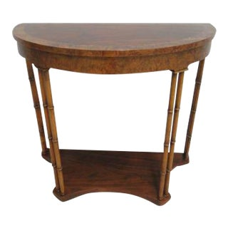 Baker Furniture Faux Bamboo Demilune Hall Console For Sale