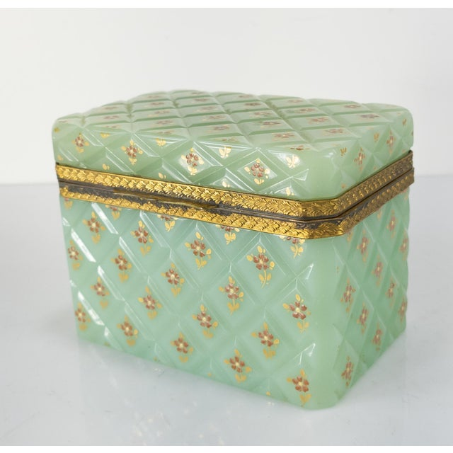 French Bronze Mounted Celadon Green Opaline Trinket Box For Sale - Image 10 of 10