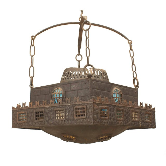 Early 20th Century Continental German Wrought Iron Chandelier For Sale - Image 4 of 4