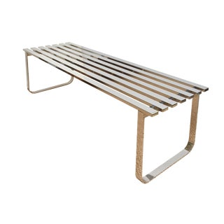 Vintage 1970s Milo Baughman Chrome Slatted Bench For Sale