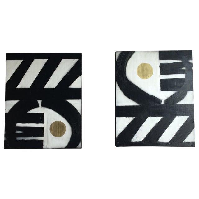 Black & White Geometric Acrylic Paintings - A Pair - Image 1 of 4