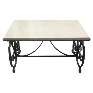 French Marble Top Coffee Table with Gilded Iron Base For Sale