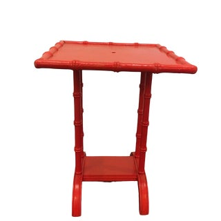 Chinoiserie Red Faux Bamboo Side Table For Sale