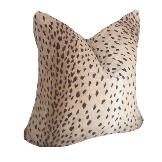 "Contemporary Brown and Black Antelope Linen Pillow Cover 22"" For Sale - Image 3 of 3"